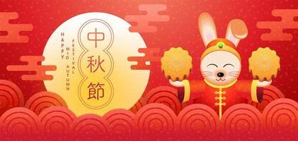 banner festivel vermelho meados de outono com coelho