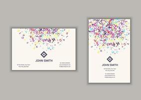 cartão de visita com design abstrato letras vetor