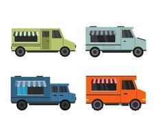 conjunto de ícones de caminhões de comida vetor
