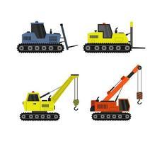 conjunto de ícones de veículos de construção vetor