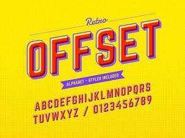 Alfabeto pop retrô offset 3D