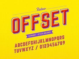 Alfabeto pop retrô offset 3D vetor