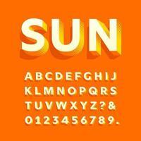 sol moderno 3d negrito alfabeto vetor