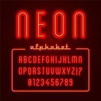 alfabeto de néon vermelho brilhante