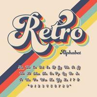 alfabeto retrô dos anos setenta 3d vetor