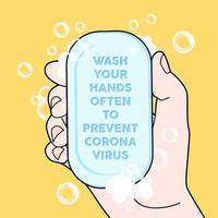 lave as mãos frequentemente para evitar o vírus corona.