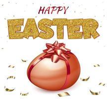 cartaz de feliz Páscoa com ovo vermelho vetor
