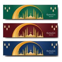 conjunto de modelos de banner colorido ramadan web vetor