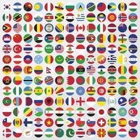 conjunto de ícones de bandeiras do país redondo vetor