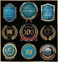 100 modelos de crachá de aniversário vetor