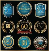 60 modelos de crachá de aniversário vetor