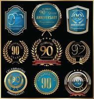 Modelos de distintivo de 90º aniversário vetor