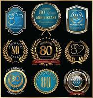 Modelos de crachá de 80º aniversário vetor