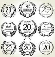 20 emblemas pretos de aniversário vetor