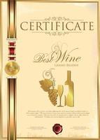 melhor certificado de ouro de vinho vetor