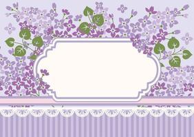 modelo de cartão floral com lilases e moldura vetor