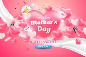 oferta especial coração fundo do dia das mães. vetor