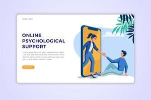 página de destino do suporte psicológico