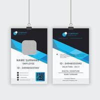 modelo de cartão de identificação com barra de ângulo azul vetor