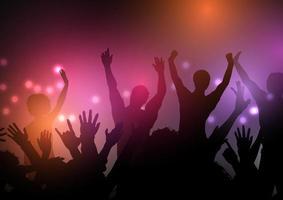 silhueta de multidão de festa com luzes vetor