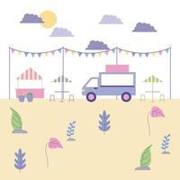 caminhão de comida ao ar livre no parque vetor