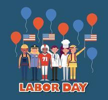 cartão do dia do trabalho com vários trabalhadores profissionais vetor