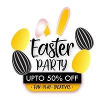 design de festa de páscoa com orelhas de coelho e ovos vetor