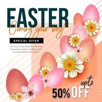 oferta de Páscoa com listras diagonais, flores e ovos vetor