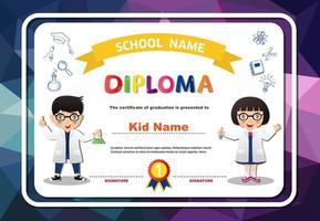 diploma de crianças prées-escolar quadro arredondado em polígonos