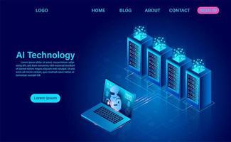 página de destino do conceito de inteligência artificial vetor