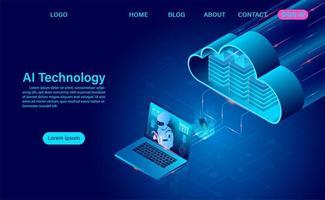 página de destino do robô de inteligência artificial e tecnologia em nuvem vetor