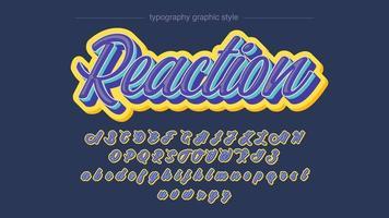 estilo de caligrafia 3d amarelo azul vetor