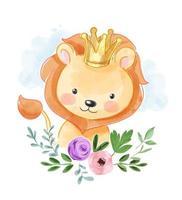 leão na coroa de ouro e flor vetor