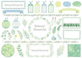 conjunto de elementos botânicos gráficos verdes e azuis vetor