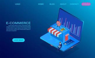 comércio eletrônico, compras on-line com o conceito de computador portátil