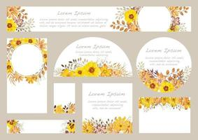 conjunto de fundos florais em aquarela amarelos com espaço de texto vetor