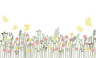 fundo sem emenda de campo primavera com plantas vetor