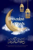 cartaz do ramadan kareem com lua crescente no céu nublado
