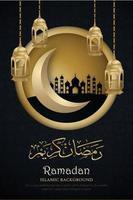 cartaz do ramadan kareem com moldura de círculo dourado