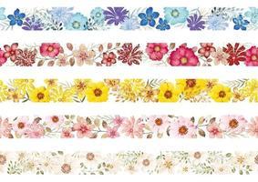 conjunto de fronteiras florais em aquarela sem emenda vetor