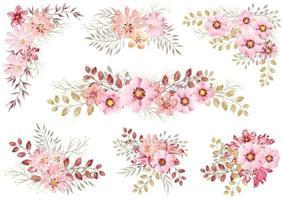 conjunto de elementos florais em aquarela rosa vetor