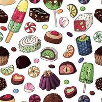 padrão sem emenda de doces multicoloridos vetor