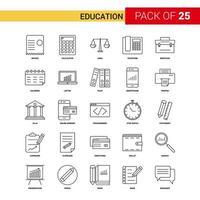 pacote de ícones de linha preta de educação de 25 vetor