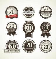 20 etiqueta de aniversário e conjunto de fita vetor