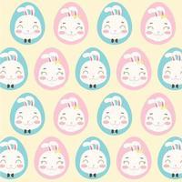 padrão de cabeças de coelho em ovos vetor