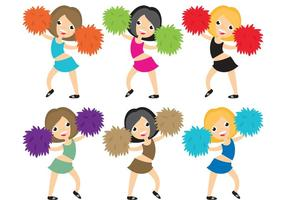 Vector Cheerleaders com Pom Poms