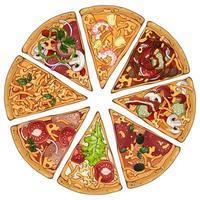 conjunto de fatias de pizza vetor