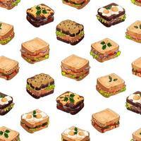 padrão de tipos de sanduíches vetor