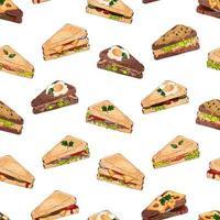 padrão de diferentes tipos de sanduíches vetor