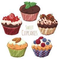 grupo de cupcakes vetor